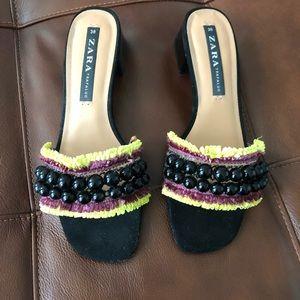Zara beaded fringe mules slides mid heel boho